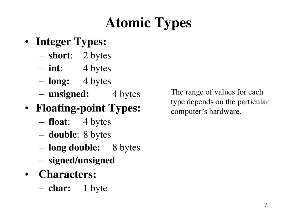 Review of c programming language reference tutorialspoint ppt atomic types integer types floating point types characters baditri Choice Image