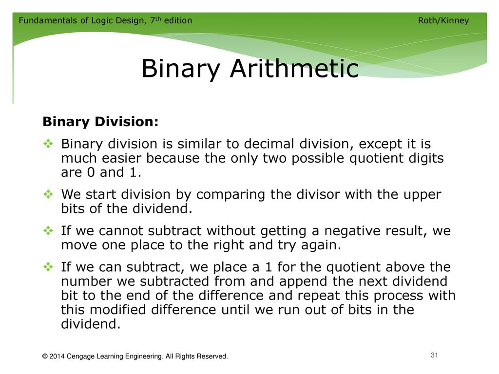 binary arithmetic In binary number system there are only 2 digits 0 and 1, and any number can be represented by these two digits the arithmetic of binary numbers means the operation of addition, subtraction, multiplication and division.