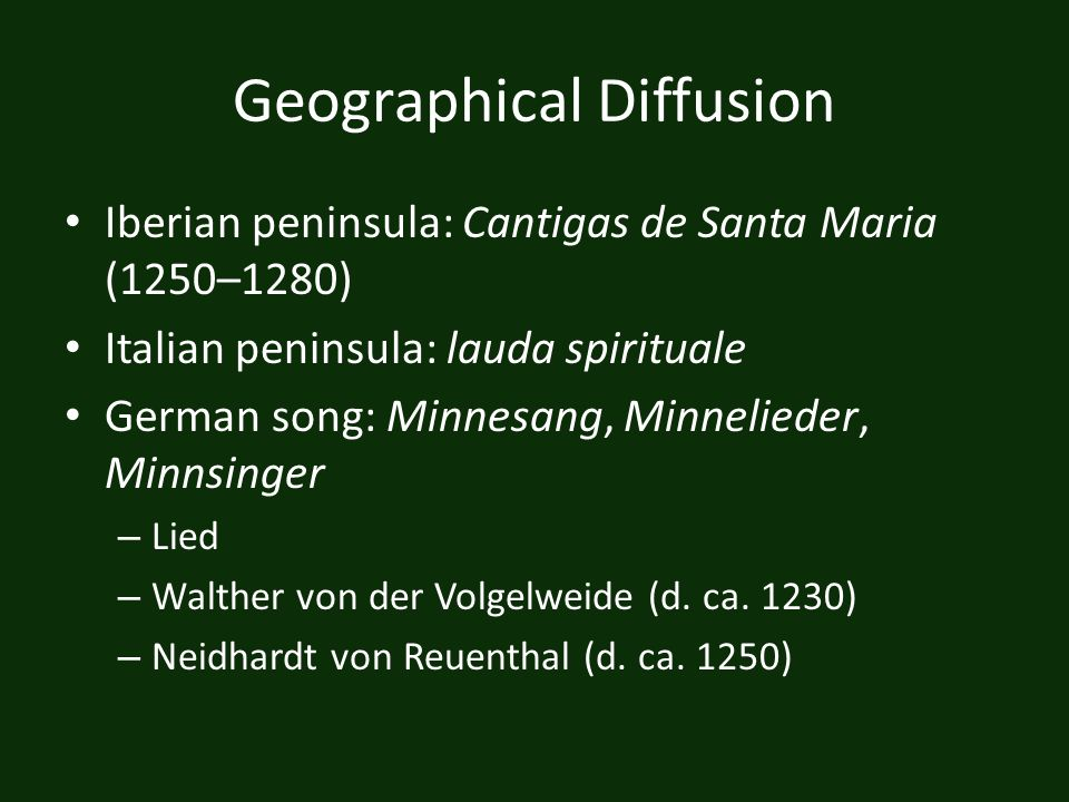 Geographical Diffusion