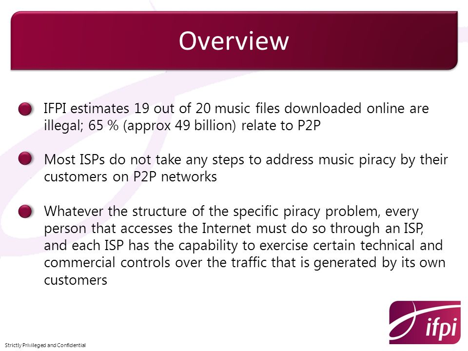 Overview IFPI estimates 19 out of 20 music files downloaded online are illegal; 65 % (approx 49 billion) relate to P2P.