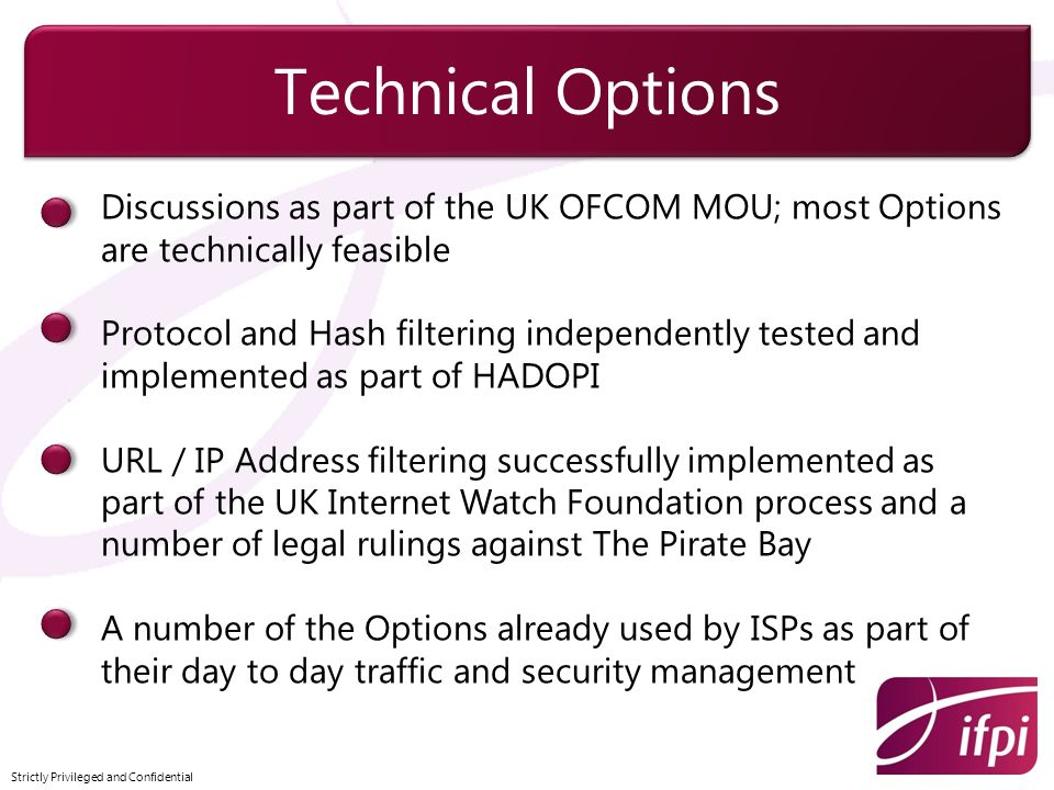 Technical Options Discussions as part of the UK OFCOM MOU; most Options are technically feasible.