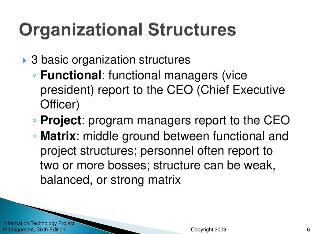 Chapter 2 the project management and information technology 6 organizational structures xflitez Image collections