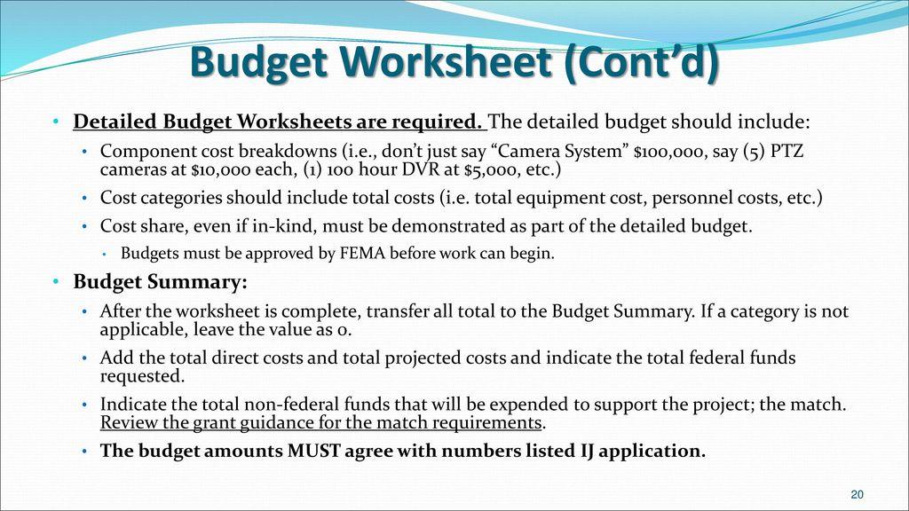 Port Security Grant Program PSGP Presentation ppt download – Detailed Budget Worksheet