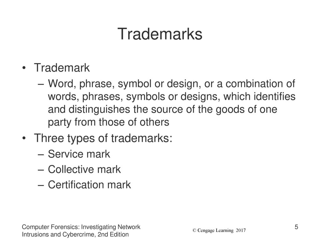 Chapter 9 investigating trademark and copyright infringement ppt 5 trademarks biocorpaavc Image collections
