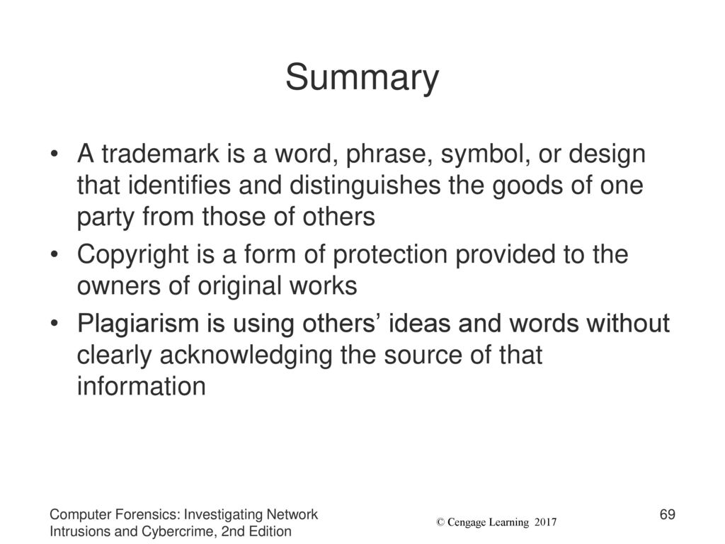 Chapter 9 investigating trademark and copyright infringement ppt summary a trademark is a word phrase symbol or design that identifies and buycottarizona Gallery