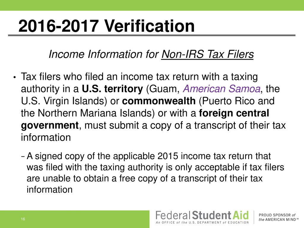 Do not yet pass go verification and conflicting information ppt income information for non irs tax filers falaconquin