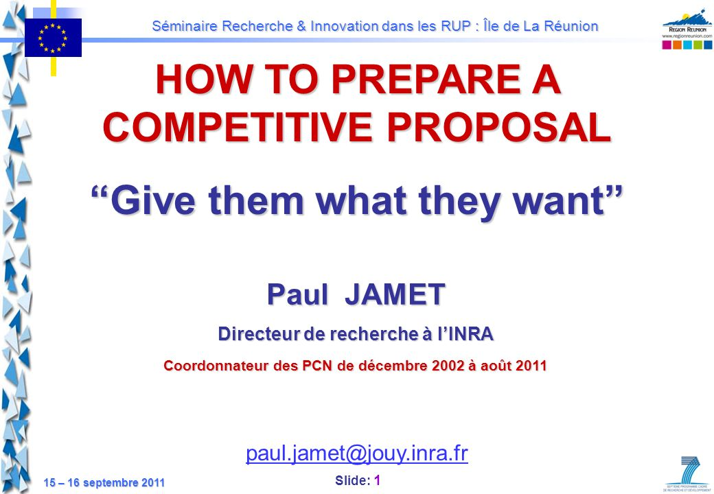 HOW TO PREPARE A COMPETITIVE PROPOSAL Give them what they want