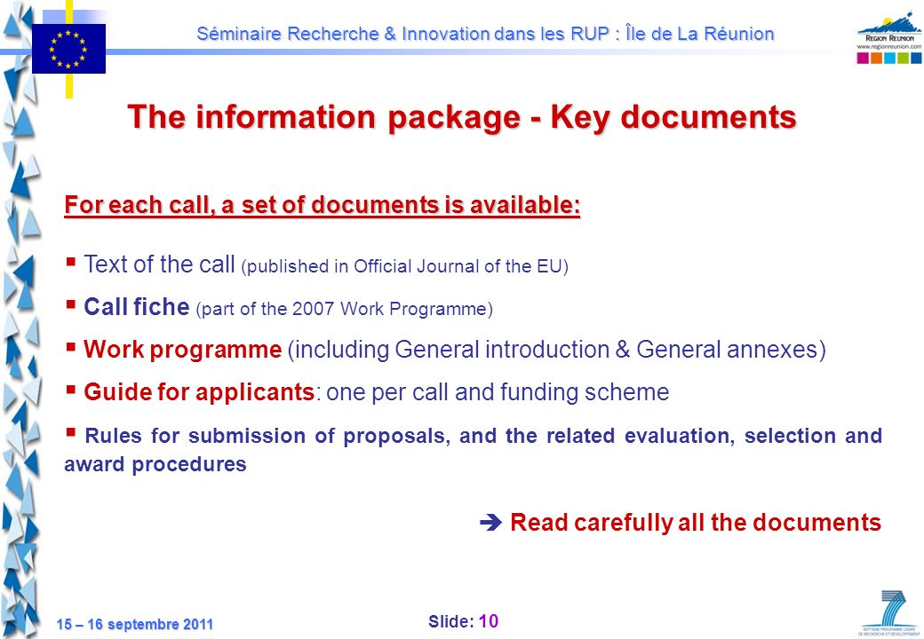 The information package - Key documents