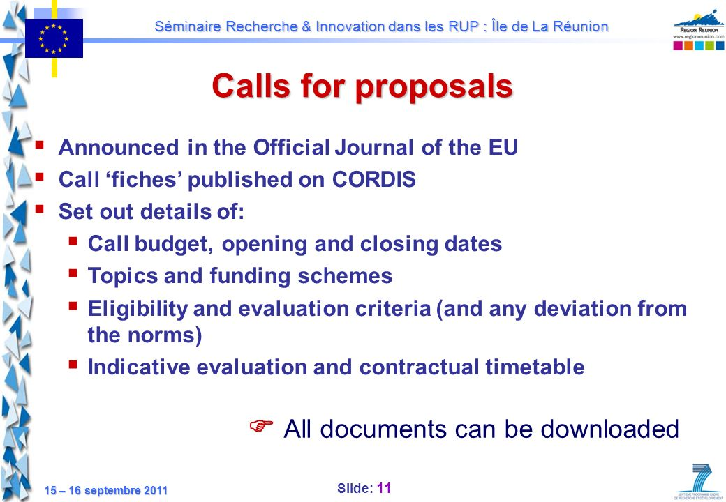 Calls for proposals  All documents can be downloaded