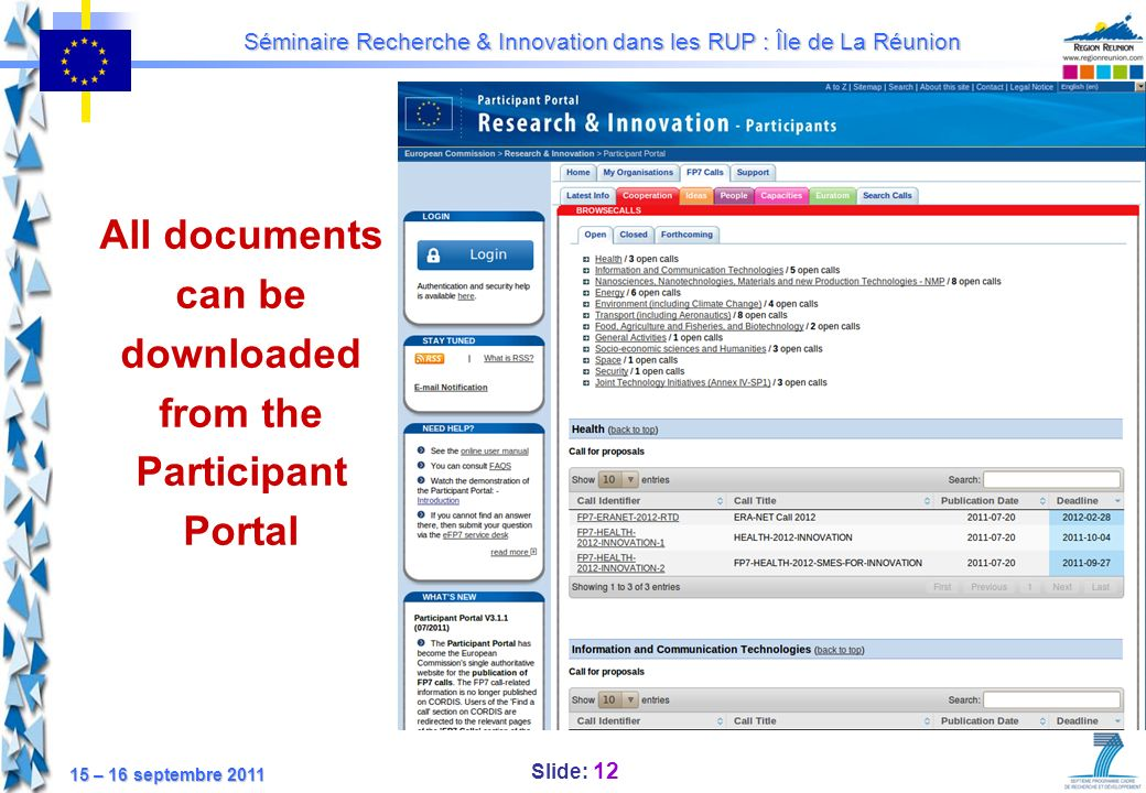 All documents can be downloaded from the Participant Portal