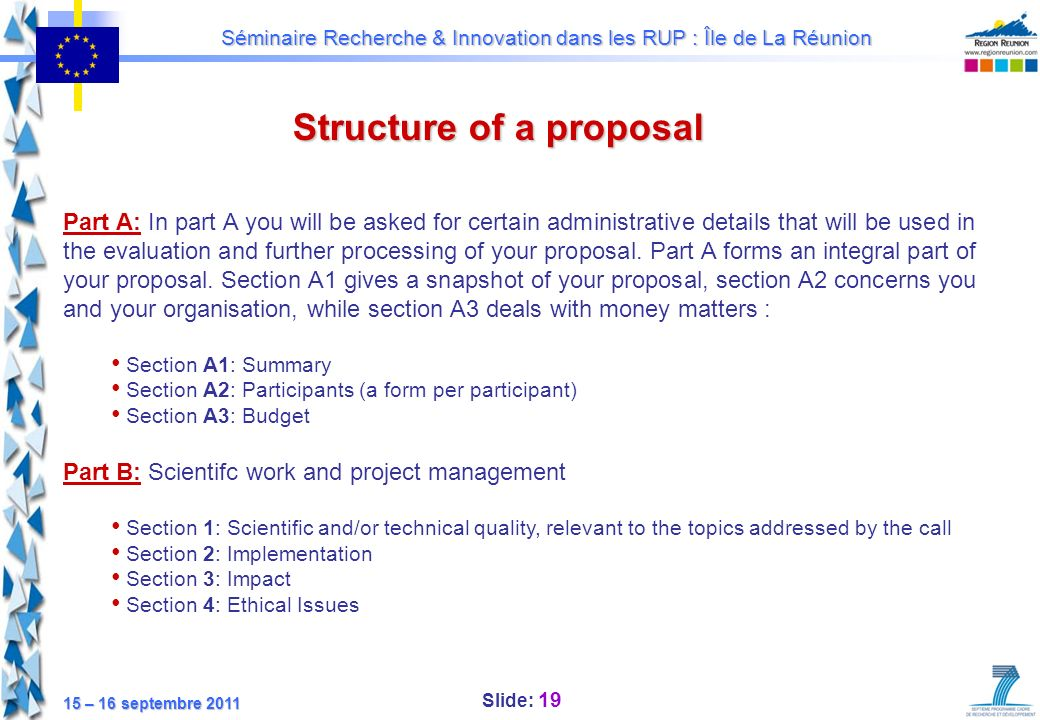 Structure of a proposal