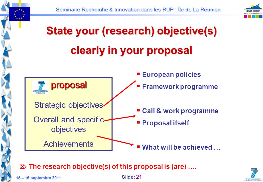 State your (research) objective(s) clearly in your proposal