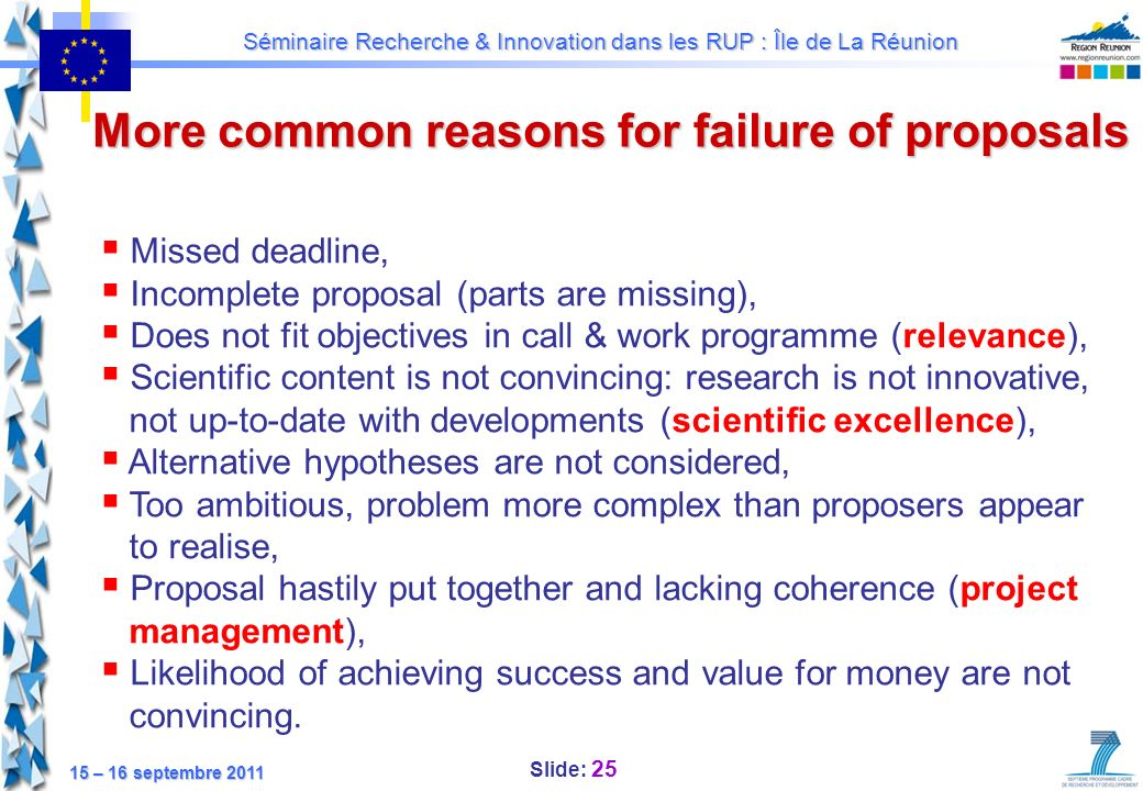 More common reasons for failure of proposals