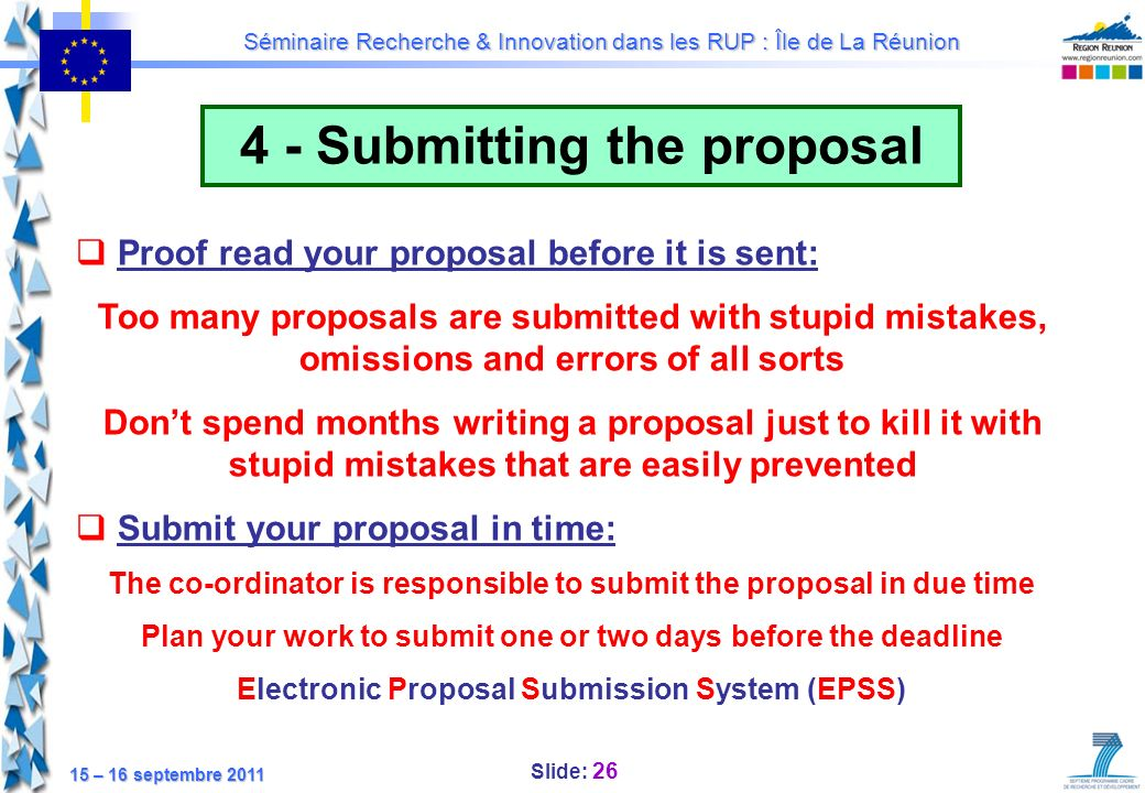 4 - Submitting the proposal