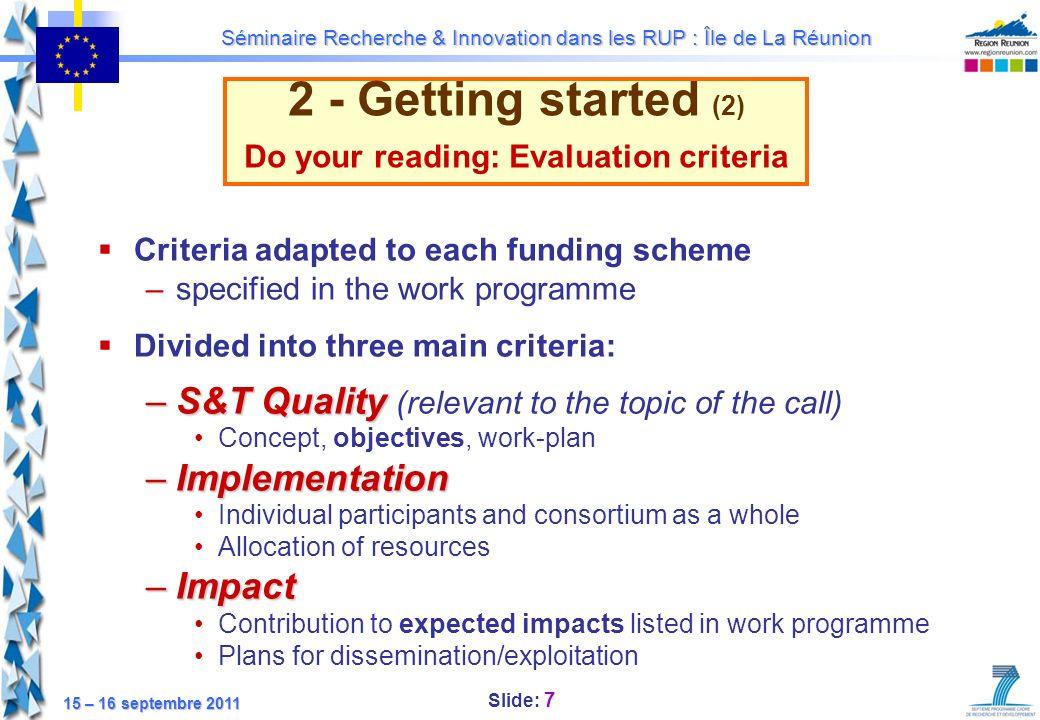 Do your reading: Evaluation criteria