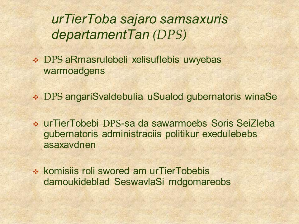 urTierToba sajaro samsaxuris departamentTan (DPS)