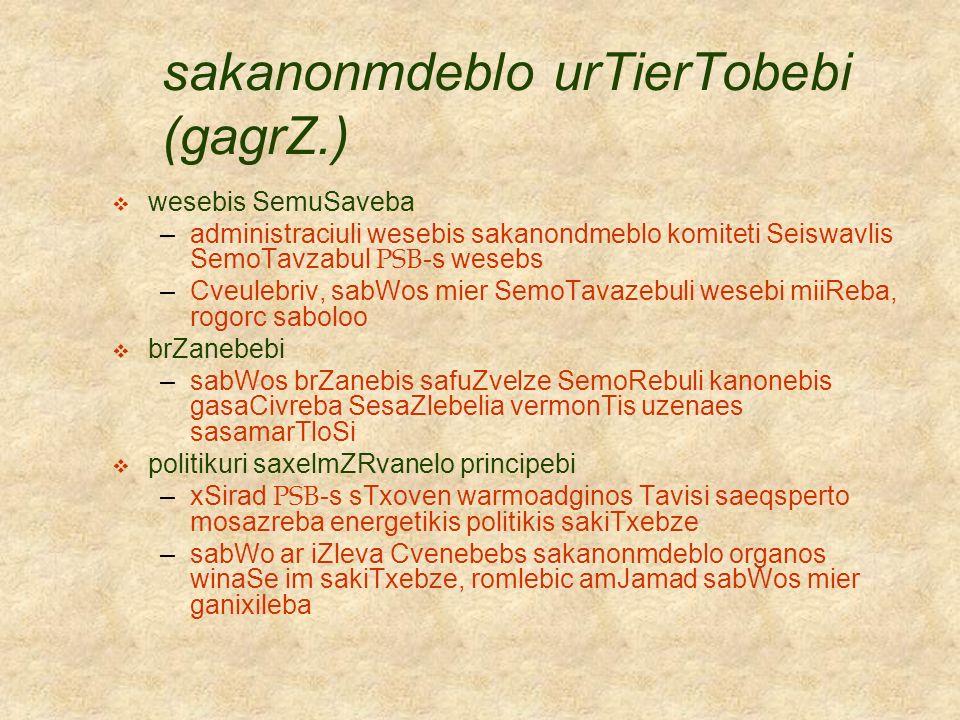 sakanonmdeblo urTierTobebi (gagrZ.)