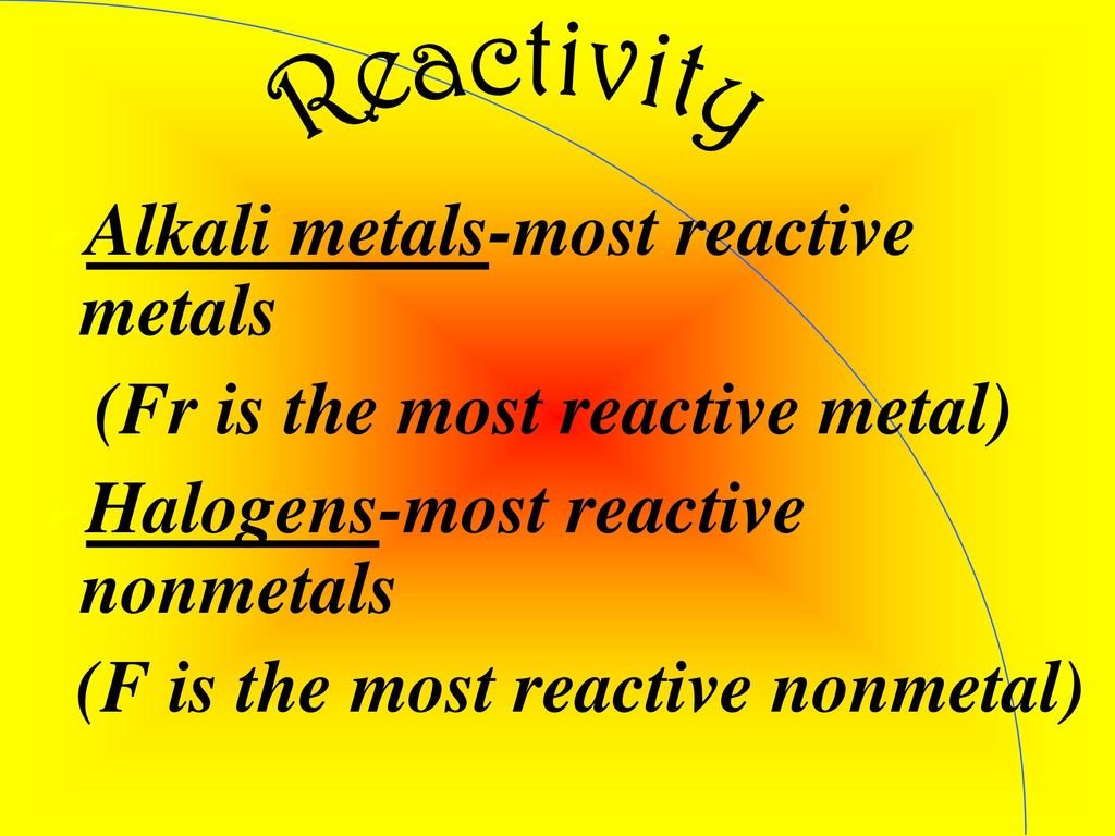 The periodic table ppt download alkali metals most reactive metals fr is the most reactive metal gamestrikefo Gallery
