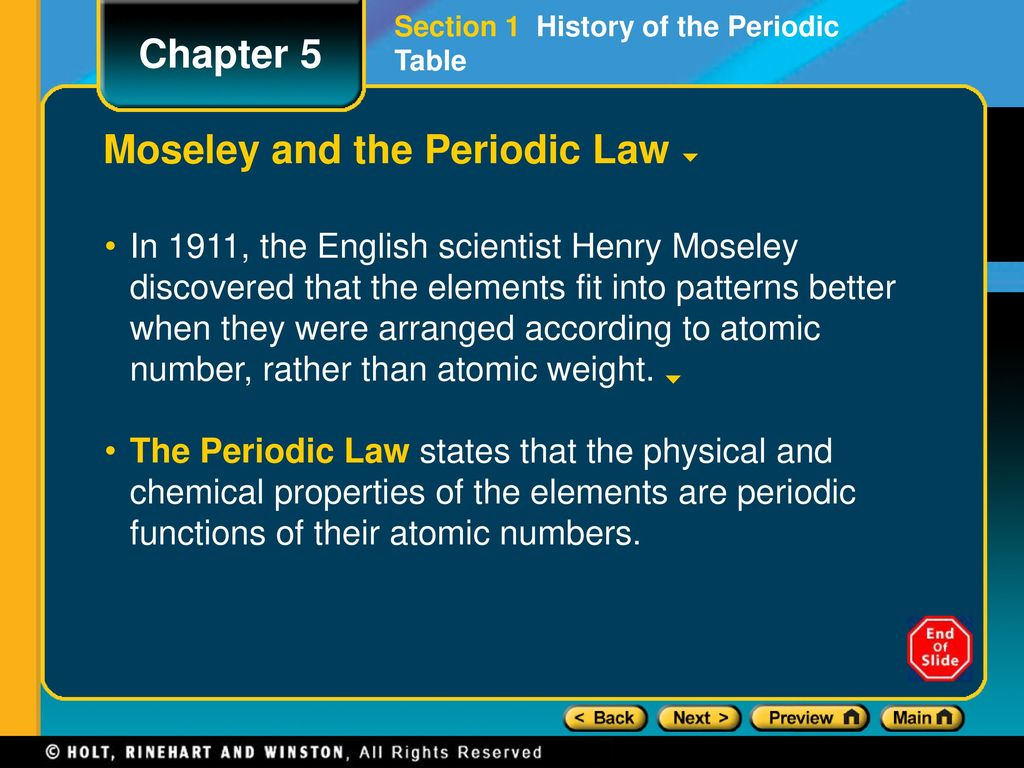 Who is credited with arranging the periodic table gallery chapter 5 preview lesson starter objectives ppt download 5 mendeleev gamestrikefo gallery gamestrikefo Images