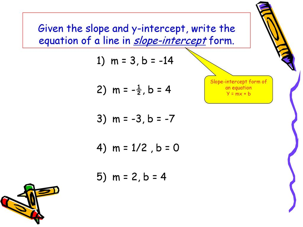 The formula for slope intercept form images standard form examples writing and graphing linear equations ppt download 28 slope intercept form of an equation falaconquin falaconquin