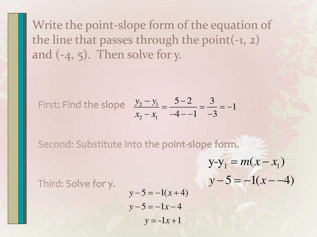 Section 14 linear functions and slope ppt video online download write the point slope form of the equation of the line that passes through the falaconquin