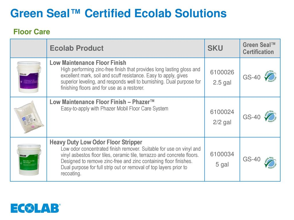 Green seal and 3rd party certified ecolab solutions ppt video green seal certified ecolab solutions 1betcityfo Gallery