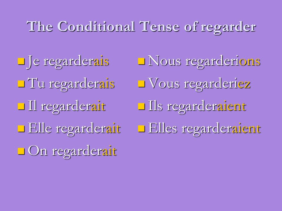 The Conditional Tense of regarder