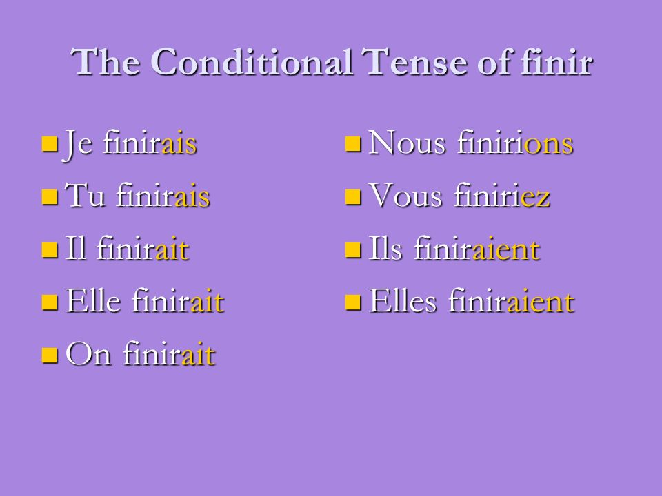 The Conditional Tense of finir