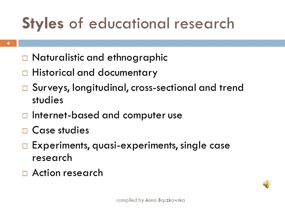 Styles of educational research
