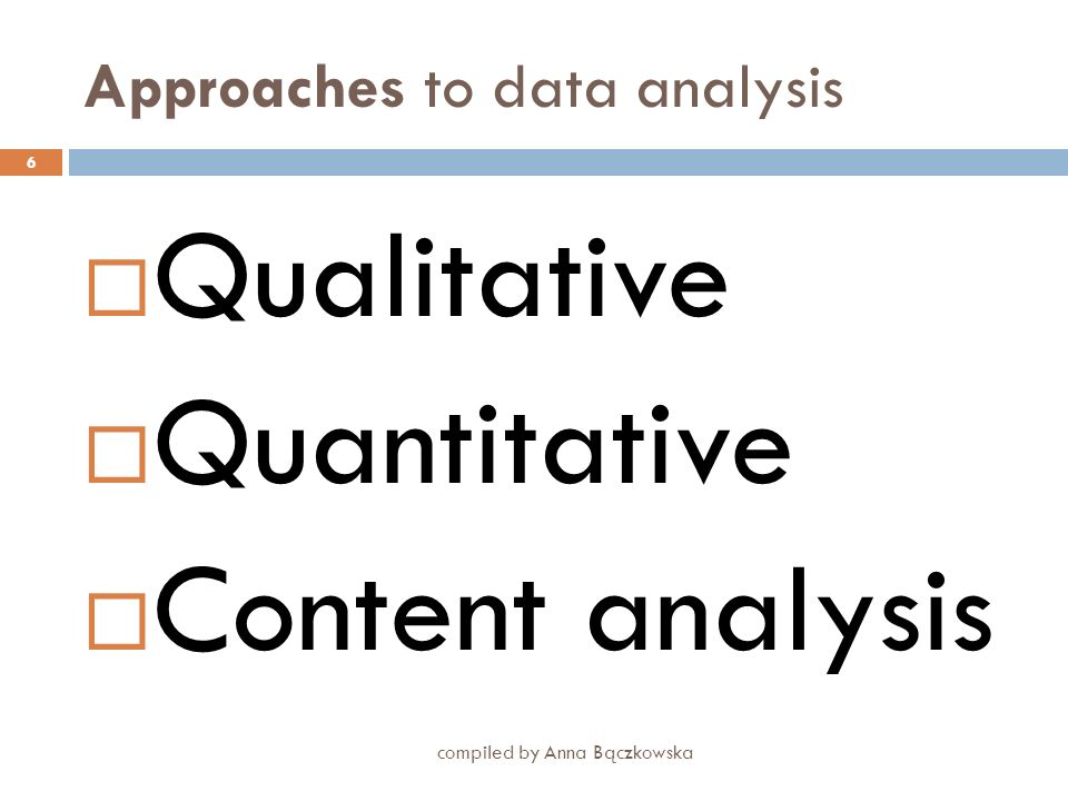 Approaches to data analysis