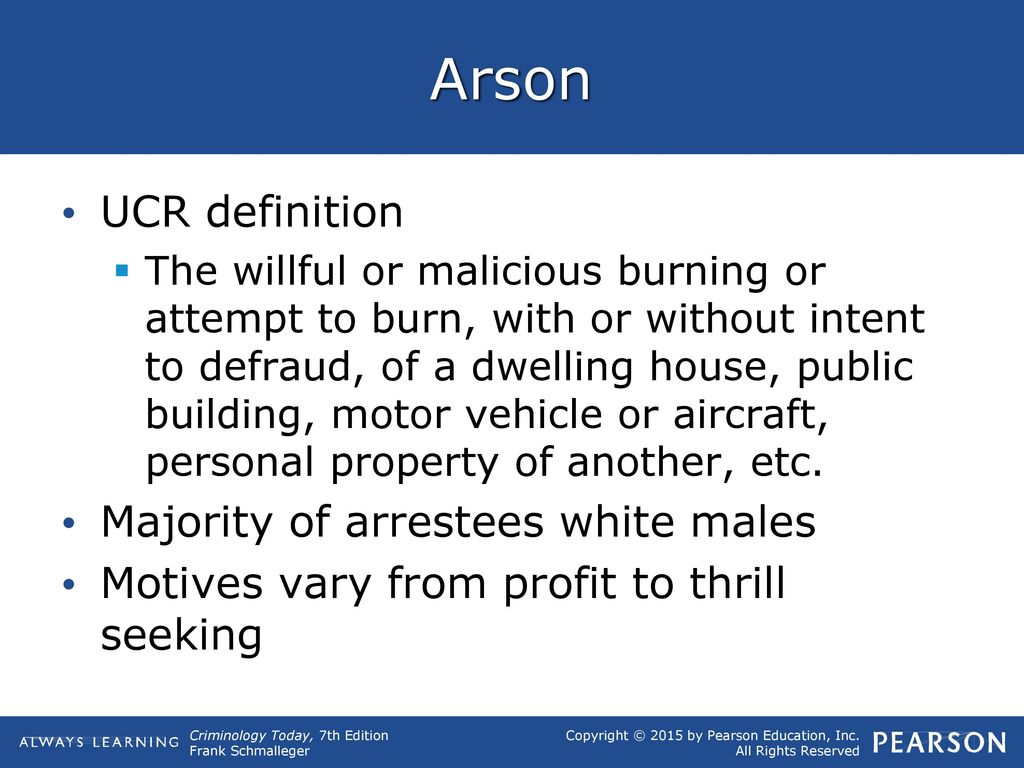 Arson UCR Definition Majority Of Arrestees White Males