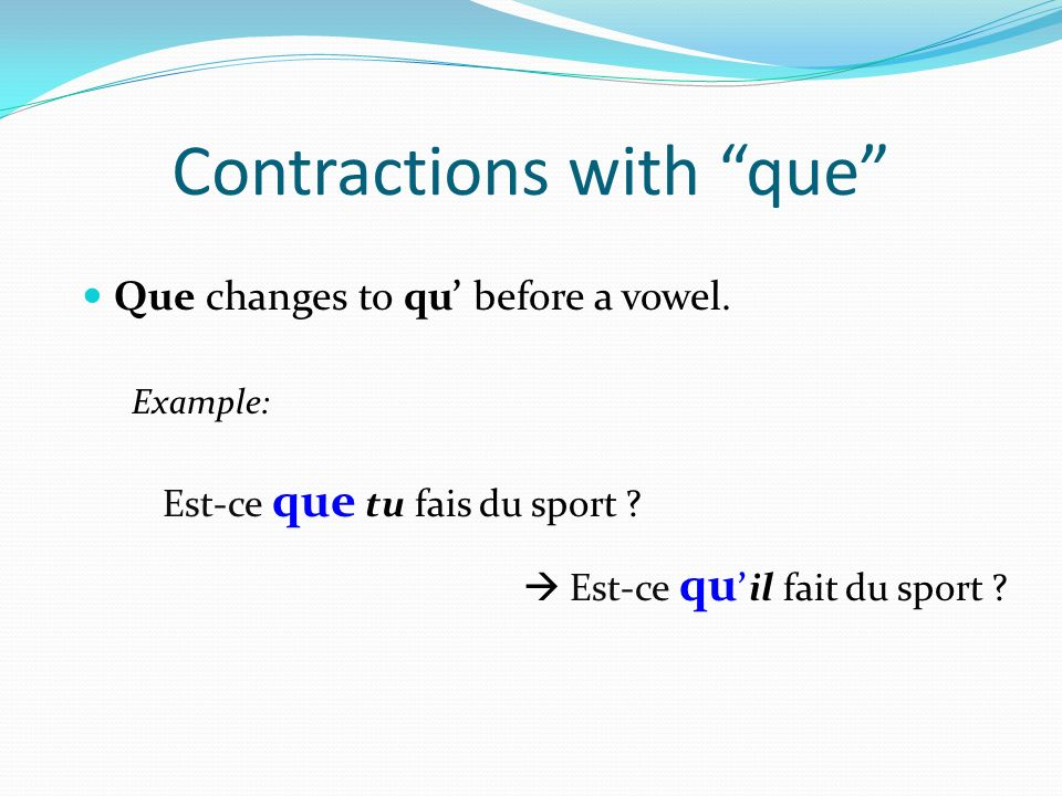 Contractions with que
