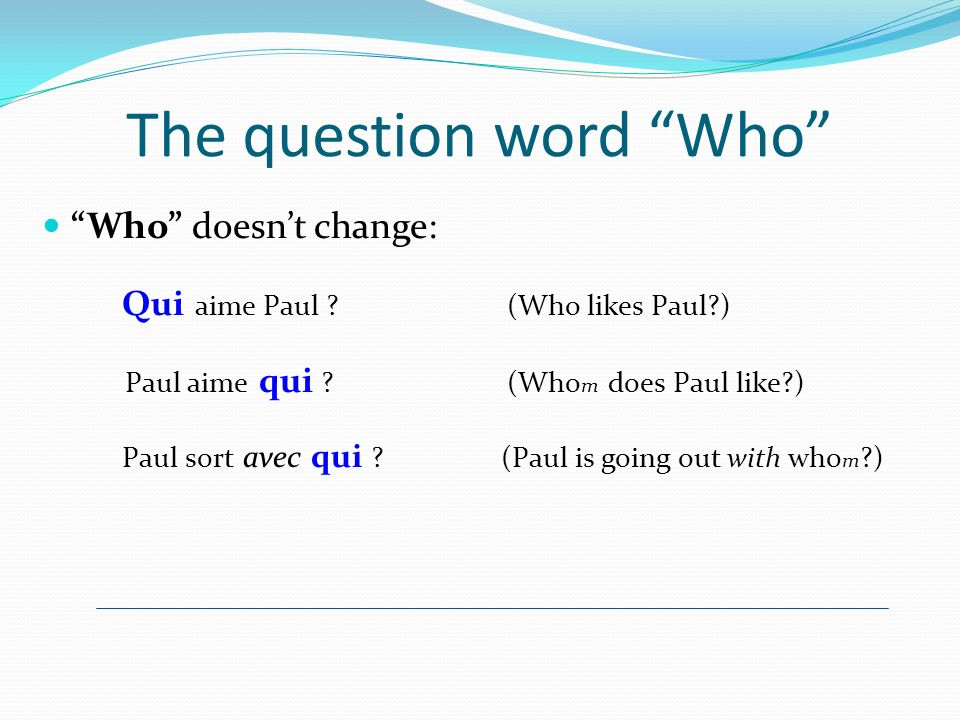 The question word Who