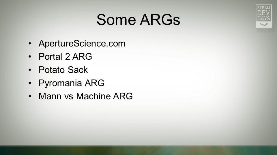 Some ARGs ApertureScience.com Portal 2 ARG Potato Sack Pyromania ARG