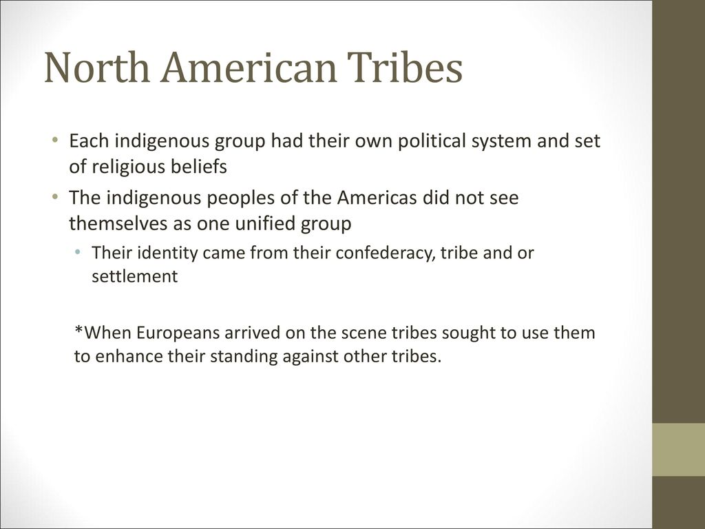 North American Tribes Each indigenous group had their own political system and set of religious beliefs.