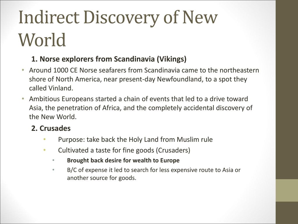 Indirect Discovery of New World