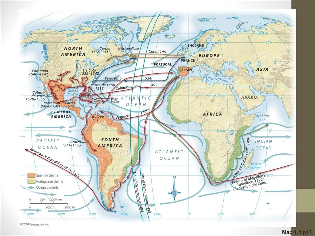 Map 1.4 Principal Voyages of Discovery Spain, Portugal, France, and England reaped the
