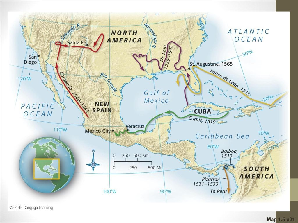 Map 1.5 Principal Early Spanish Explorations and. Conquests Note that. Coronado traversed northern.
