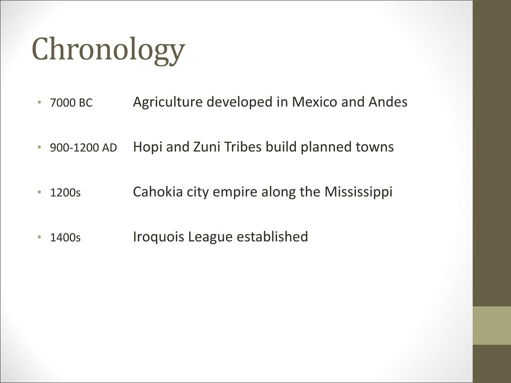 Chronology 7000 BC Agriculture developed in Mexico and Andes