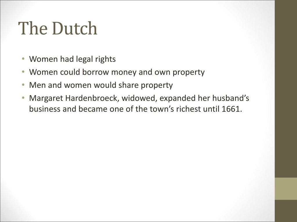 The Dutch Women had legal rights
