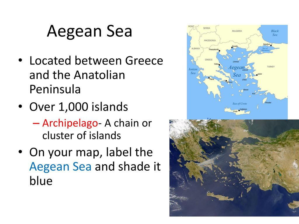 Geography of greece the geography and history of greece ppt video aegean sea located between greece and the anatolian peninsula gumiabroncs Image collections