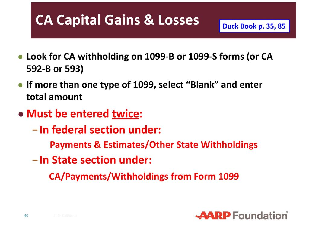 California supplement to 2016 nttc training slides ppt download ca capital gains losses falaconquin