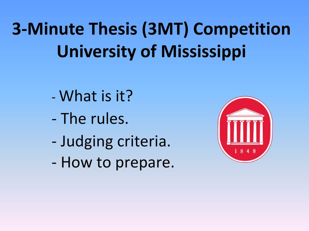 Three Minute Thesis (3MT) Competition–Announcement