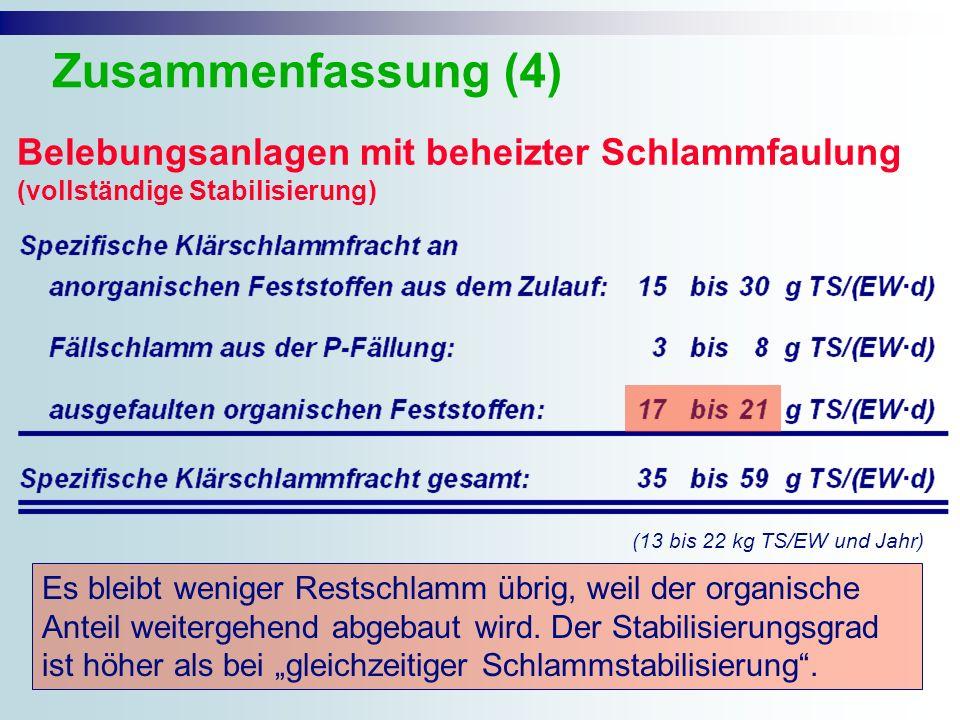 Zusammenfassung (4) Belebungsanlagen mit beheizter Schlammfaulung (vollständige Stabilisierung) (13 bis 22 kg TS/EW und Jahr)