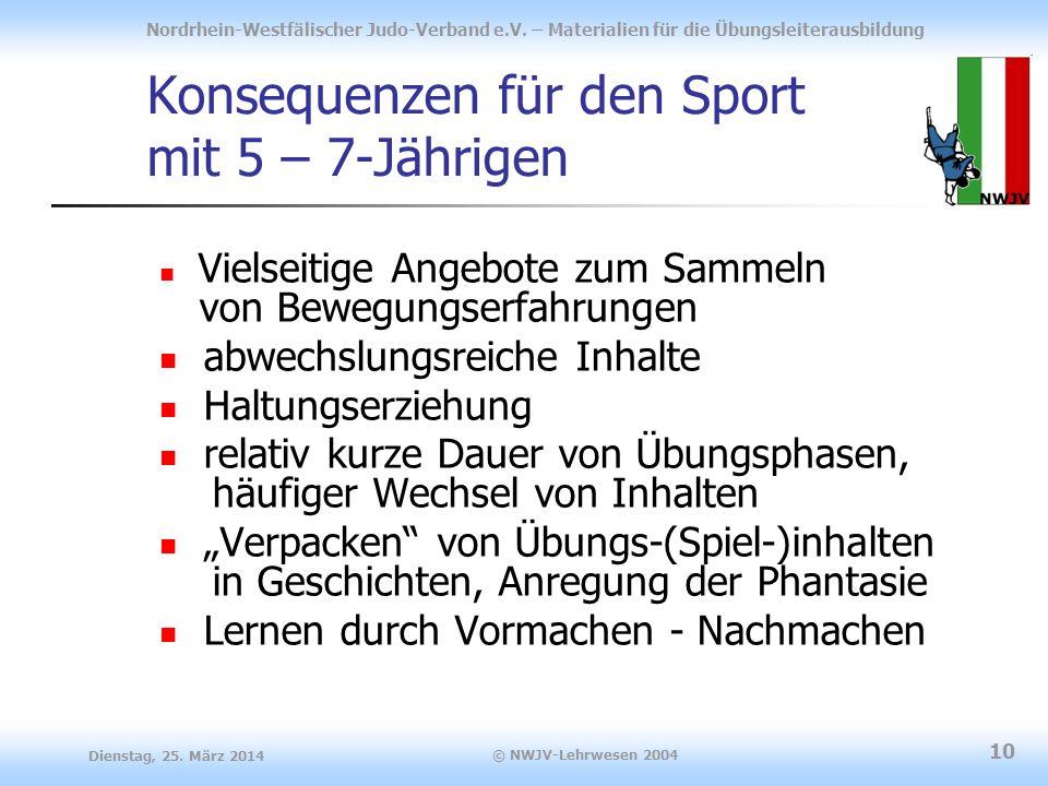 Konsequenzen für den Sport mit 5 – 7-Jährigen