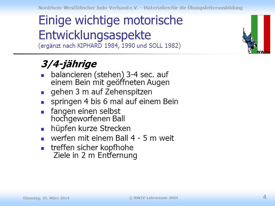 Einige wichtige motorische Entwicklungsaspekte (ergänzt nach KIPHARD 1984, 1990 und SOLL 1982)
