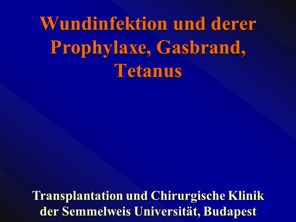 Wundinfektion und derer Prophylaxe, Gasbrand, Tetanus