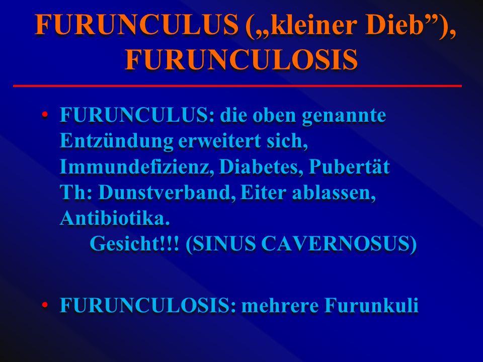 """FURUNCULUS (""""kleiner Dieb ), FURUNCULOSIS"""