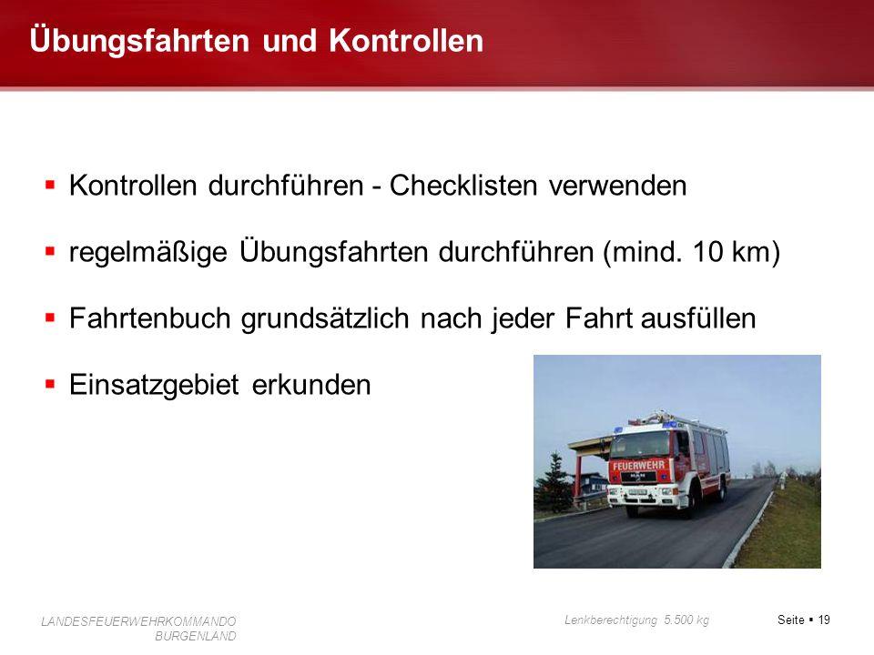 Übungsfahrten und Kontrollen
