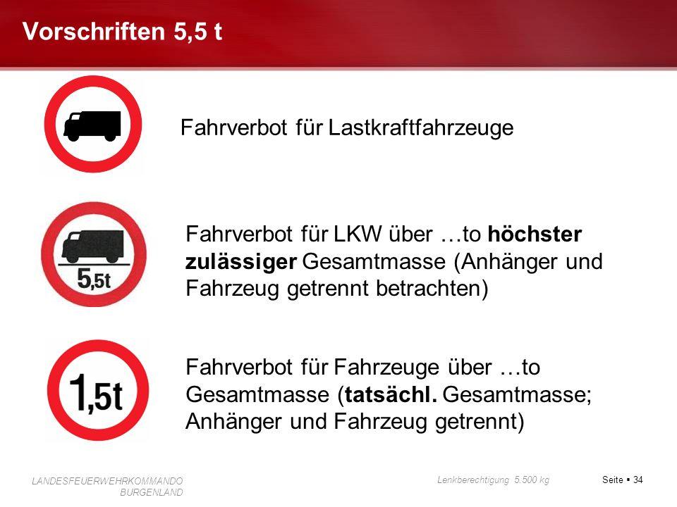 Vorschriften 5,5 t Fahrverbot für Lastkraftfahrzeuge